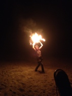 Fire dancing on the beach