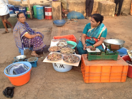 Fisherwomen at the market with the day's catch