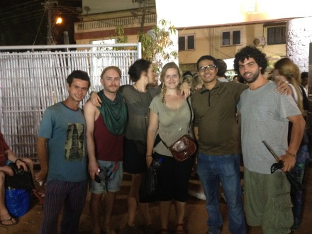 With fellow travelers at Saturday Night Bazaar, Goa
