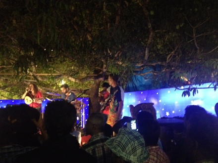 Band playing at Saturday Night Bazaar, Anjuna