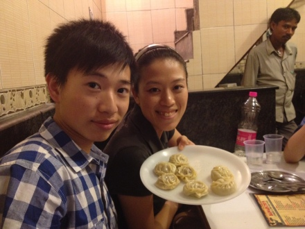 Chi and Jay with pork momos