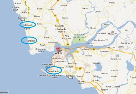 Place around Panjim highlighted in blue